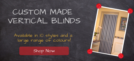 Custom Made Vertical Blinds. Available in 10 styles and a large range of colours. Shop Now!