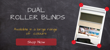 Dual Roller Blinds available in a large range of colours. Shop Now!