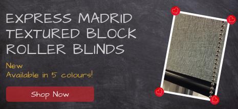 Express Madrid Textured Block Roller Blinds New!