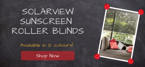 Solarview Sunscreen Roller Blinds available in 12 colours. Shop Now!