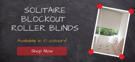Solitaire Blockour Roller Blinds available in 10 colours