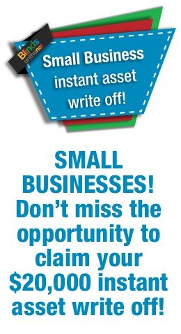 Small Business savings, claim up to $20,000 asset write off!