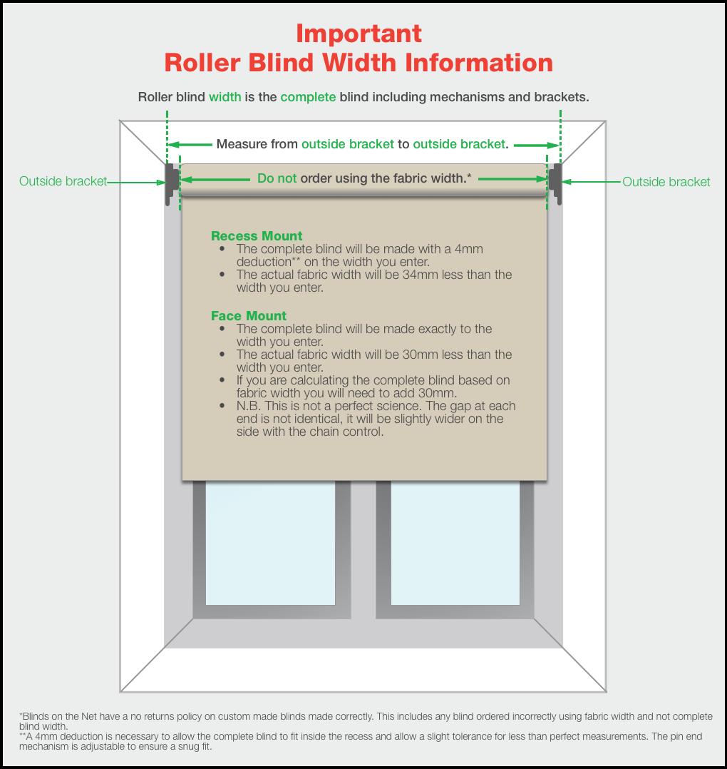 Roller Blinds Width Information