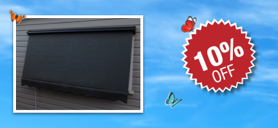 10% off Custom Made Outdoor Spring Operated Auto Awnings