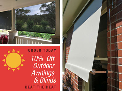 10% percent off awnings and blinds