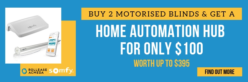 Home Automation Hub Special. Buy 2 motorised blinds & get a wifi hub for only $100.