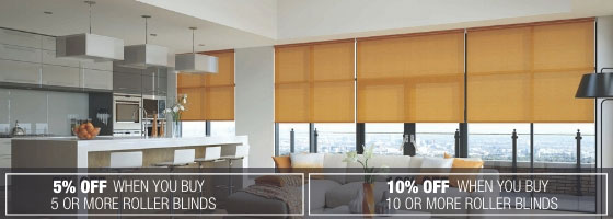 5% and 10% off when you buy 5 or 10 or more Roller Blinds