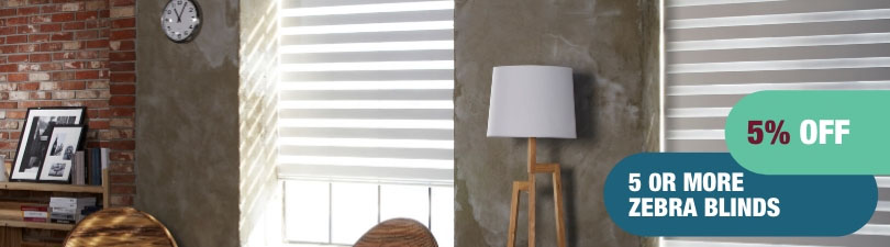 5% off 5 or more zebra blinds