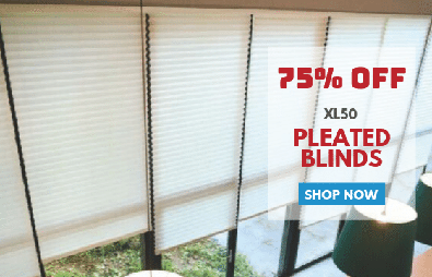 75% Off XL50 Pleated Blinds